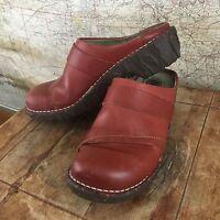 El Naturalista Red Leather Frog Shock Womens Clog Mule Slide Shoes 38 US 8