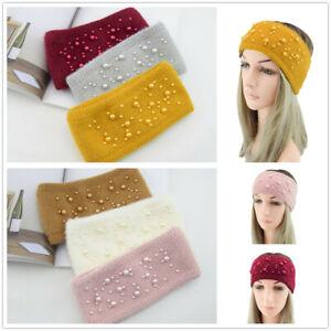 Women-Winter-Ear-Warmer-Headwrap-Crochet-Headband-Pearls-Wide-Knitted-Hairband