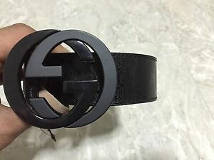 5c6aa4142 NWT Authentic Gucci Men's Black GG Imprimé Shiny Belt 223891 FU49X ...