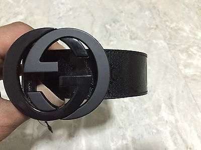 9f77a8796 NWT Authentic Gucci Men's Black GG Imprimé Shiny Belt 223891 FU49X   eBay