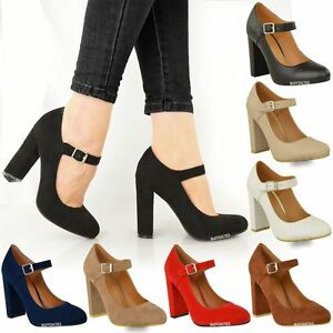 Image is loading WOMENS-LADIES-BLOCK-HIGH-HEELS-COURT-SHOES-MARY-