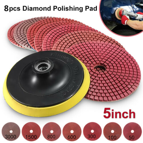 4//5/'/' Diamond Polishing Pads Wet//Dry Kit For Granite Marble Stone Concrete