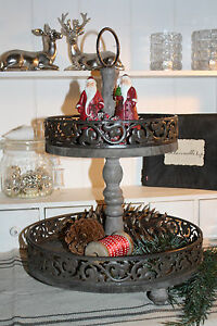 etagere in braun holz metall vintage 41cm landhausstil shabby stil weihnachten ebay. Black Bedroom Furniture Sets. Home Design Ideas