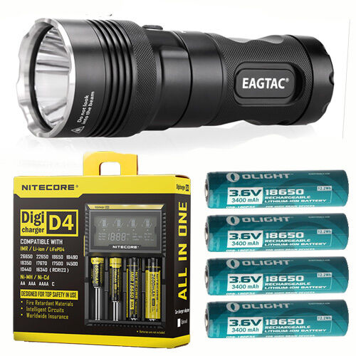 Eagletac MX25L4 Flashlight SBT-90 KIT w 4x 3400mAh Batteries & D4 Charger