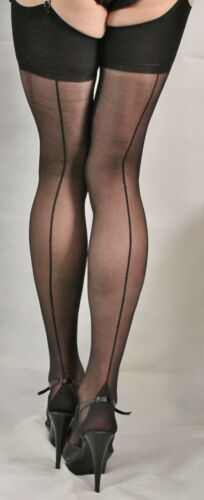 2 pairs Extra Large Black French//Point Heel Seamed  Stockings High Quality