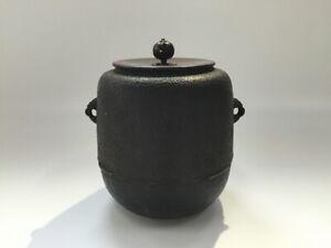 Japanese-Iron-Kettle-Chagama-Vtg-Tea-Ceremony-Tool-Lidded-Hot-Water-R225