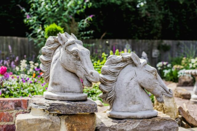 Large Horse Head Stone Cast Statues, Horse Garden Statues Uk