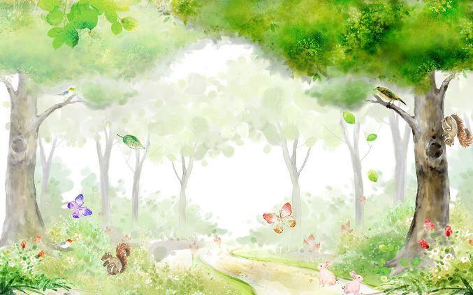 3D Dream Trees Butterfly Paper Wall Print Decal Wall Wall Murals AJ WALLPAPER GB