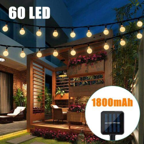 A+++ Guirlande Lumineuse Solaire Guinguette 60 LED D/'extérieur 11m Cristal