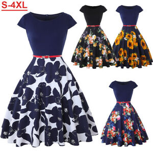 Summer Casual Vintage Dress Women Retro Tunic Short Sleeved Print Floral Dresses