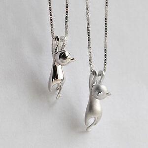 Damen-3D-Silber-plattiert-Halsketten-Mit-Katzen-Anhaenger-Kette-Cats-Modeschmuck