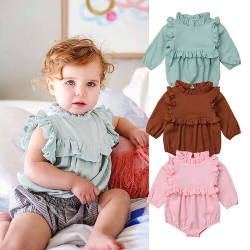UK Newborn Baby Girls Princess Cotton Tops Romper Jumpsuit Outfits Clothes 0-2T