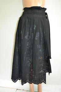 44f8da7cb76bf5 NWOT Sacai 2231 Black Cotton Eyelet Pleated Wrap Skirt Size 3/L | eBay