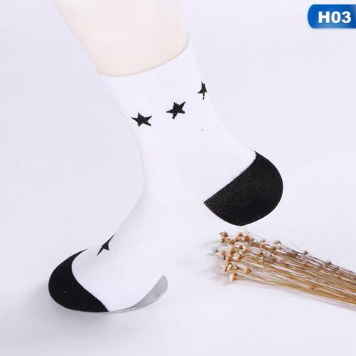 Damen Söckchen Gestreiften Socken Weiß Mit Schwarzen Harajuku@AmH eNwrg