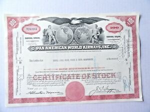 Pan-Ameican-World-Airways-Stock-Certificate-Merrill-Lynch-100-Shares-1969