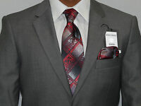 Mens Two Piece Suit Giorgio Ferraro European Slim Fit Sp3000-s2 Solid Gray Sale