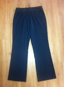 Ladies-CUE-IN-THE-CITY-Dark-Grey-Pinstripe-Dress-Pants-Size-10-Flared-Trousers