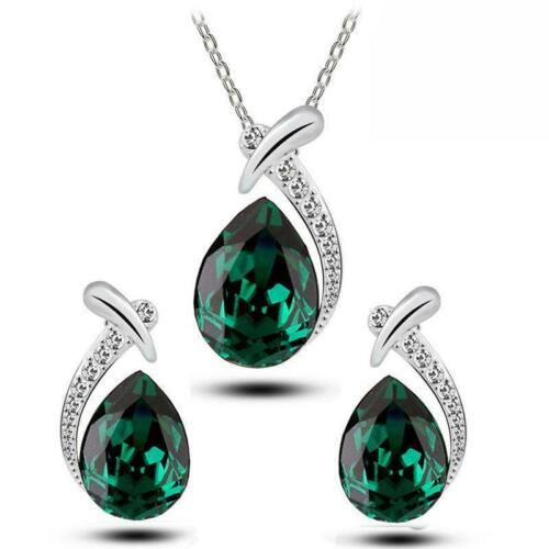 Wedding Crystal Rhinestone Water Drop Necklace Pendant Earring Chic Gift Set LC