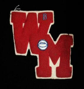 """VINTAGE 1960'S-1970'S SCHOOL FOOTBALL LETTER RED AND WHITE PATCH 6 1/2"""" X"""
