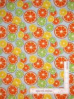 Citrus Fruit Slices Orange Lemon Lime Bue Cotton Fabric Spx 25489 - Yard