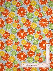 Citrus-Fruit-Slices-Orange-Lemon-Lime-Bue-Cotton-Fabric-SPX-25489-By-The-Yard