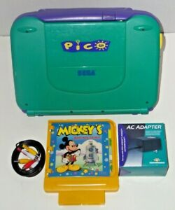 Vintage-Sega-Pico-Console-Cords-Instructions-amp-Mickey-039-s-Blast-Into-The-Past-Game