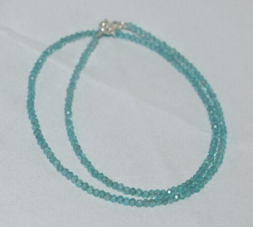 "Sky Apatite Gemstone 3mm Beads 925 Sterling Silver 12-36/"" Strand Necklace"
