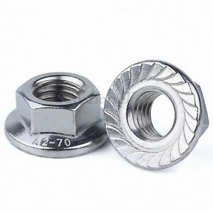 Serrated Flange Flanged Nut 20 Pack A2 M5  Stainless Steel