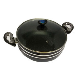 High Quality Non Stick Wok 28cm W Glass Lid Black And Red