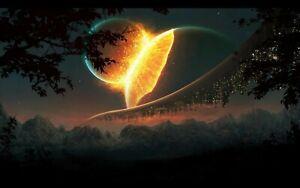 Plaque métal   collision de planètes  30 X 20 CM
