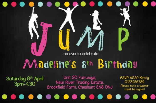personalised trampoline jump party invitations x 10 boy or girl ebay