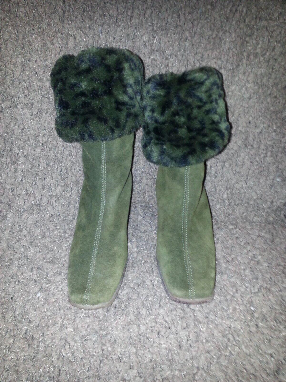 Aquatalia-ante verde-Animal verde-Animal verde-Animal Print-Forrado De Piel Sintética botas de cuña-Talla 6-casi Nuevo 4da20f