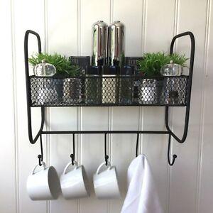 Vintage Style Metal Wall Shelf Unit Kitchen Towel Hook Storage