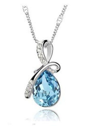 N24 Aleación De Plata Cristal Ángel Azul Lágrima Con Joyas Colgante más