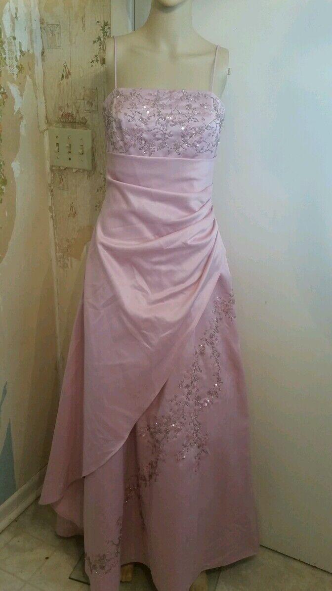 City Triangles Größe 5 mauve Rosa spaghetti strap floor length PRO dress bead seq