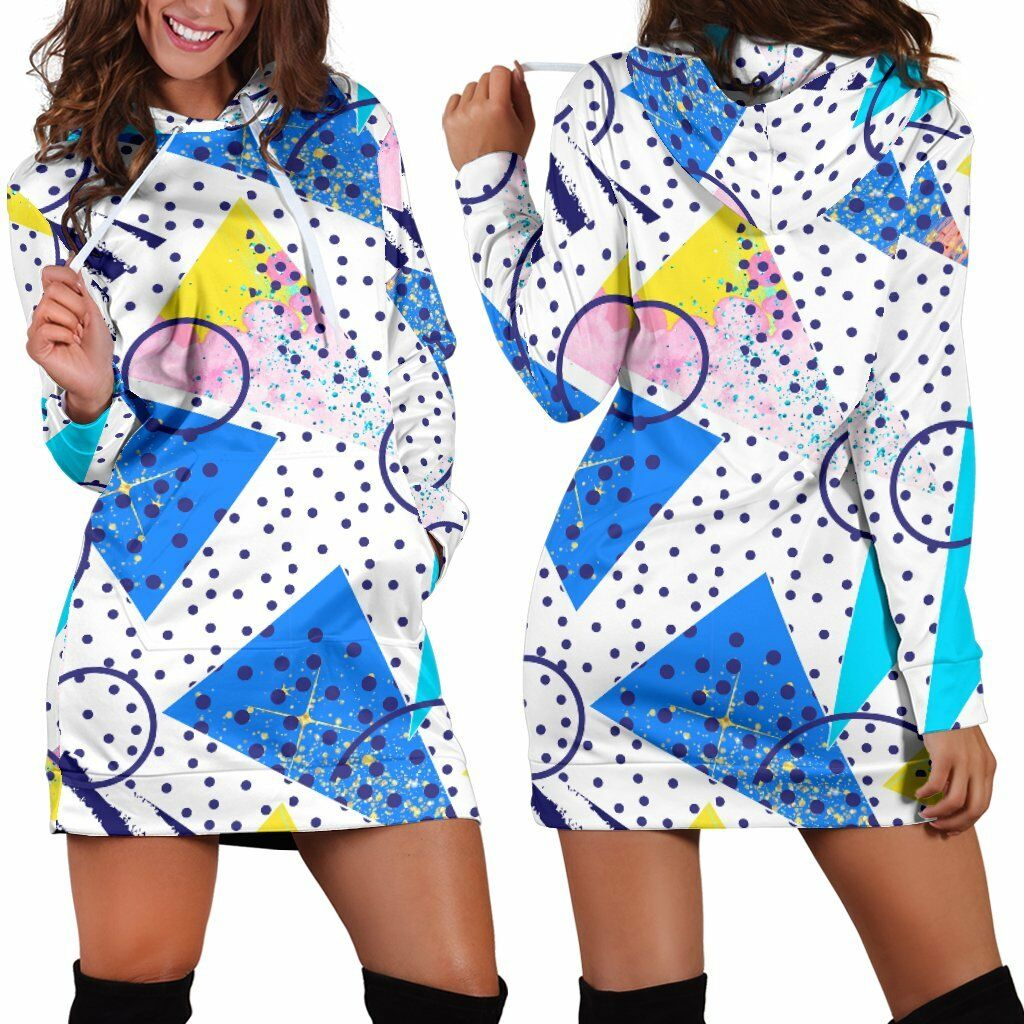80s Pattern Fashion Kawaii damen Teen Long Sleeves Hoodie Dress Hooded Tunic