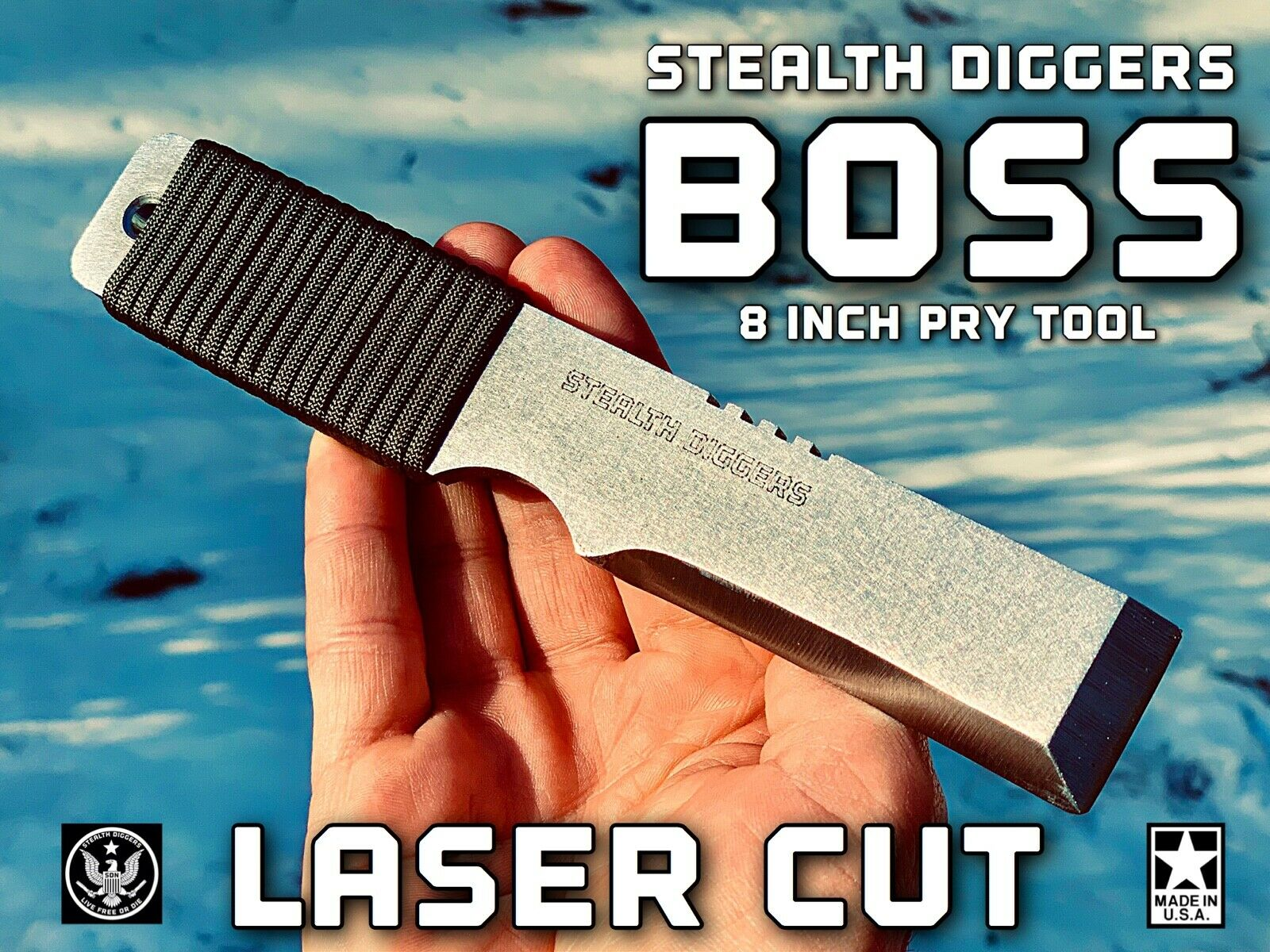Stealth Diggers laser Cut Boss Clip & go 8 Inch EDC pry bar tool survival camp