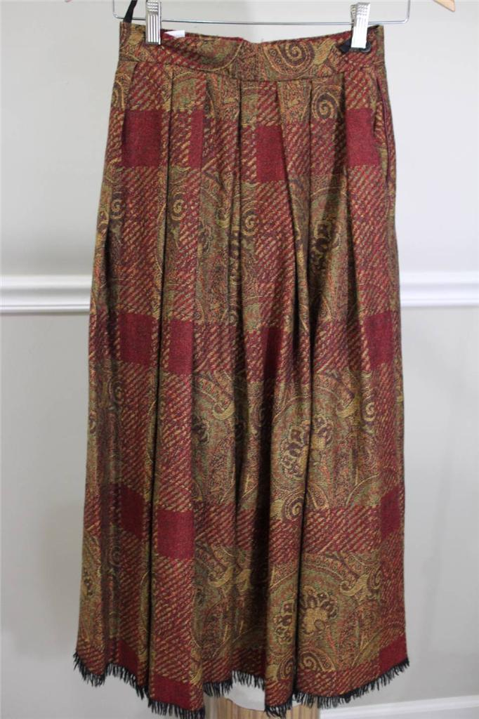 Mulberry England pleated long skirt size S (SK200)