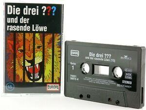 Die-drei-15-Fragezeichen-und-der-rasende-Loewe-Hoerspiel-MC-schwarz-Kassette