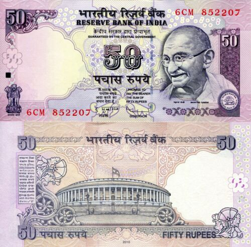 INDIA 50 rupees Banknote World Paper Money UNC Currency Pick p97i Gandhi Bill
