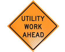 Utility Work Ahead Non Reflective Vinyl Roll Up Sign 48 X 48