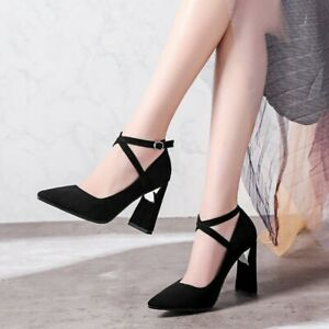 elegant women high chunky heels ankle strap party cocktail