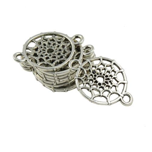 20pcs Antique Silver Dream Catcher Connectors Findings Bracelet DIY Craft