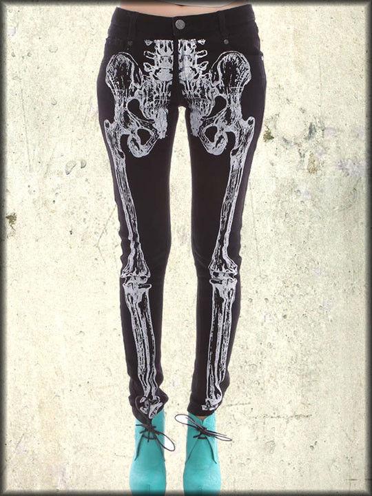 Iron Fist Wishbone Skelett Knochen Röntgenbild Damen Stretch Röhrenjeans