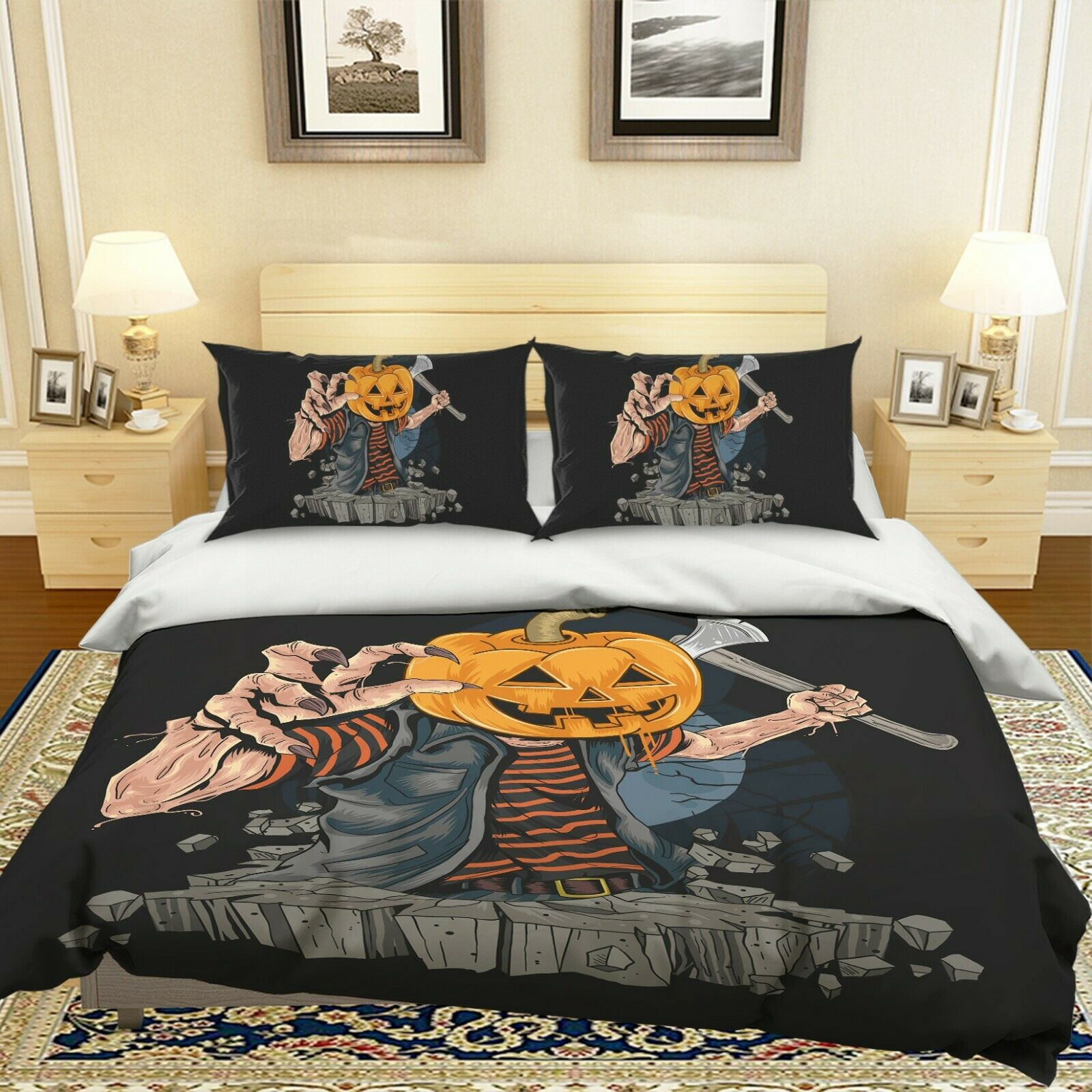 3D Pumpkin Axe Man I134 Halloween Bett Pillowcases Duvet Startseite Quilt Amy
