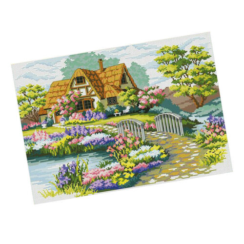 Garden Cottage Stamped Cross Stitch Kit Pre-Printed Pattern Embroidery Kits