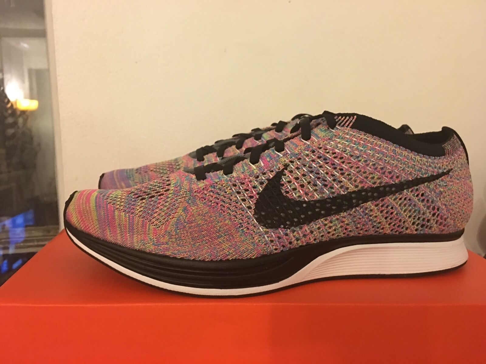 Nike Flyknit Racer Multicolor Rainbow Dark Grey/Black/Blue Glow/Pink 526628-004