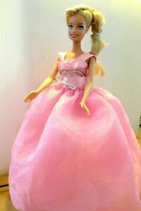 Barbie-Doll-straight-limbs-Long-blonde-hair-pink-Long-tulle-dress-amp-high-heels
