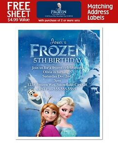 8 frozen movie birthday party favors personalized invitations ebay
