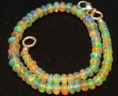 "Natural OPAL Rainbow Fire Ethiopian Opal BRACELET RONDELLE  2.5--4.5 MM 6.5"""
